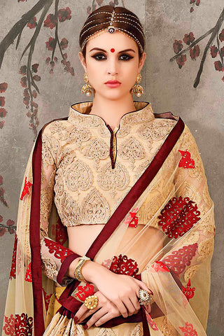 Indi Fashion Cream Red and Maroon Pure Silk Wedding Lehenga Set