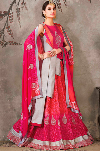Indi Fashion Gray Pink and Orange Jacket Style Pure Silk Wedding Lehenga Set
