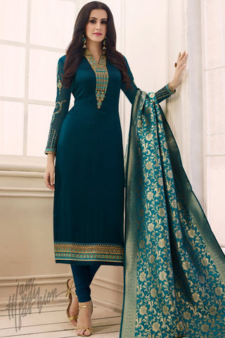 Indi Fashion Peacock and Royal Blue Satin Georgette Suit With Banarasi Dupatta