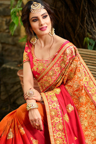 Indi Fashion Pink Red and Orange Shaded Satin Silk Saree