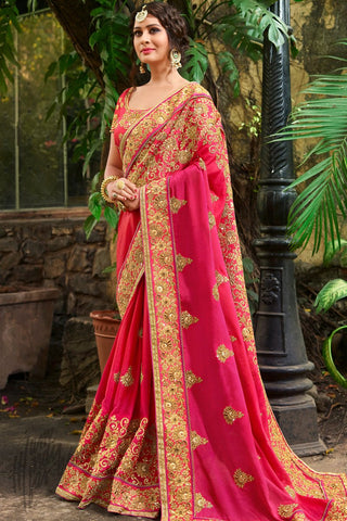 Indi Fashion Magenta and Pink Ombre Satin Silk Saree