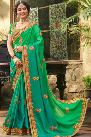 Indi Fashion Green Ombre Satin Silk Saree