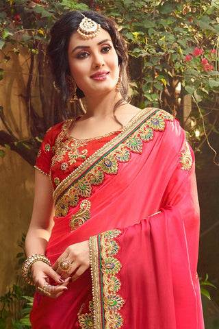 Indi Fashion Pink Ombre Satin Silk Saree