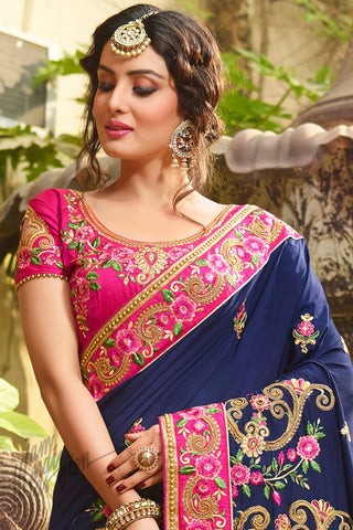 Indi Fashion Blue and Hot Pink Satin Silk Saree