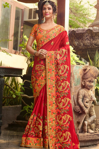 Indi Fashion Red and Orange Satin Silk Saree