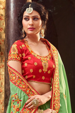 Indi Fashion Pale Green and Red Satin Silk Saree