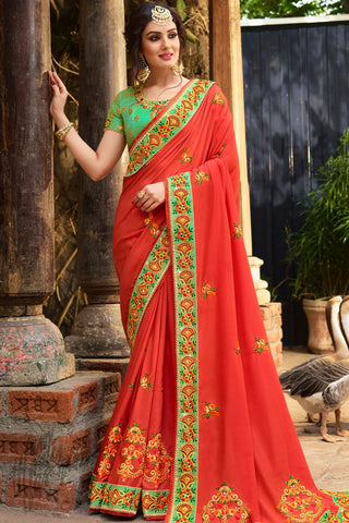 Indi Fashion Vermilion Red and Green Satin Silk Saree