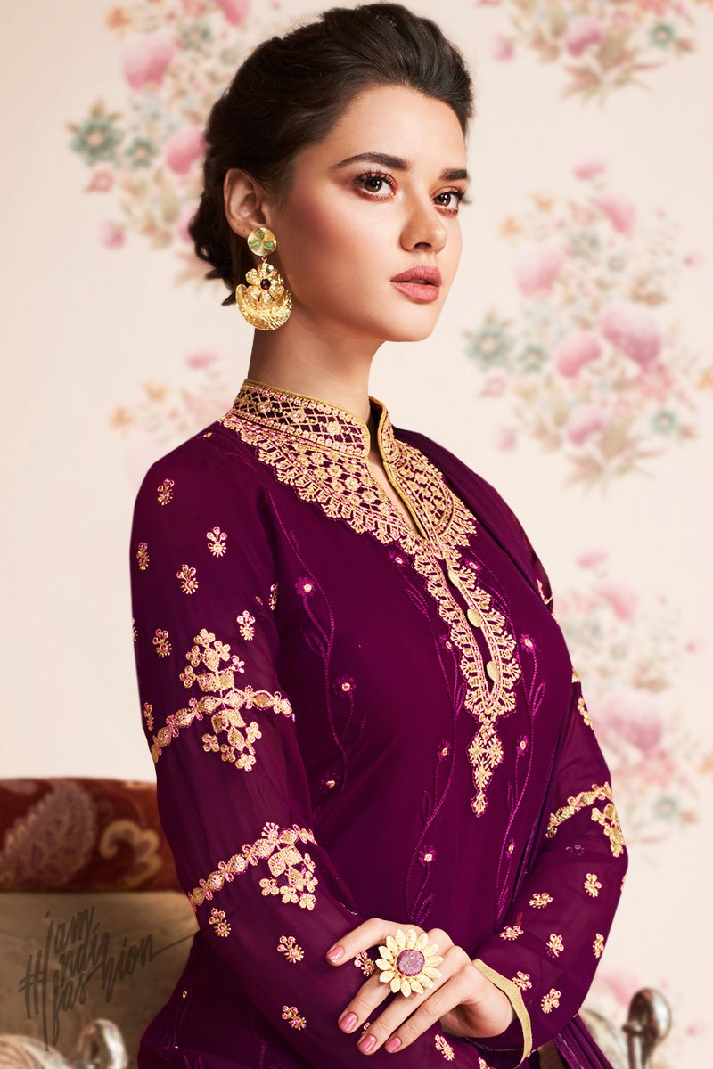 Wine Georgette Party Wear Sharara Suit