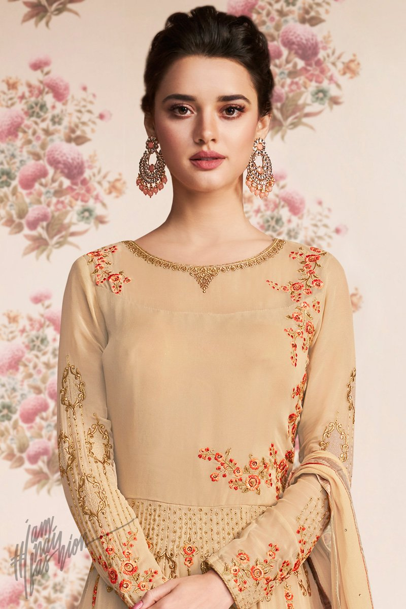 Beige Georgette Party Wear Floor Length Suit