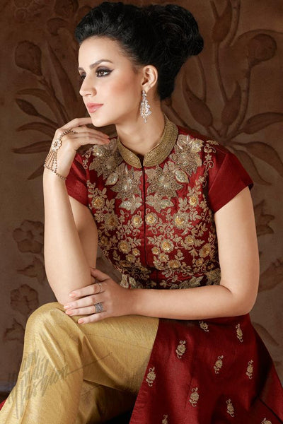 Indi Fashion Maroon Premium Silk Party Wear Suit