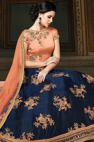 Indi Fashion Peach and Navy Blue Premium Silk Party Wear Suit