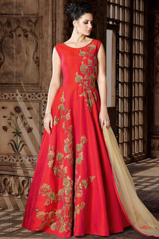 Indi Fashion Red Premium Silk Party Wear Suit