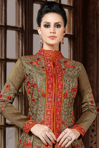 Indi Fashion Copper Brown Premium Silk Party Wear Suit