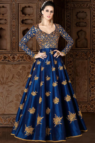 Indi Fashion Royal Blue Premium Silk Party Wear Suit
