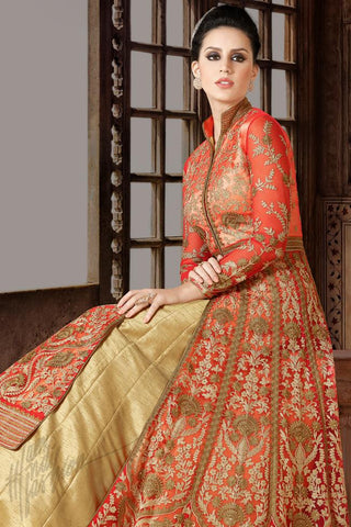 Indi Fashion Red and Beige Premium Net Party Wear Suit