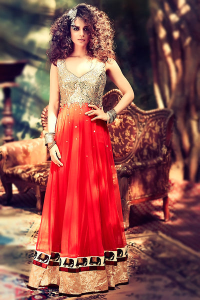 Buy Red Mirror Work Georgette Party Wear Anarkali Suit Online at indi.fashion
