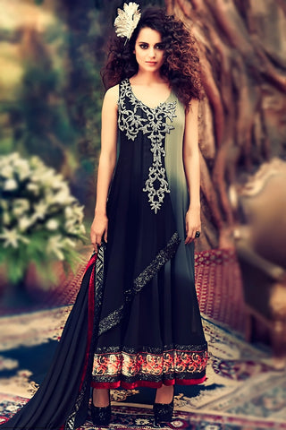 Indi Fashion Gray Shaded Georgette Party Wear Anarkali Suit