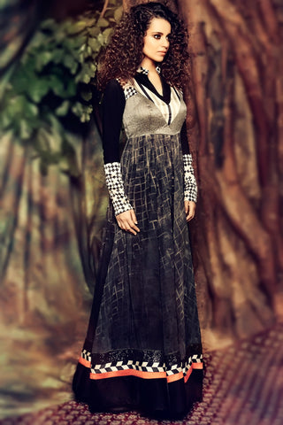 Indi Fashion Gray Shaded Georgette Party Wear Suit