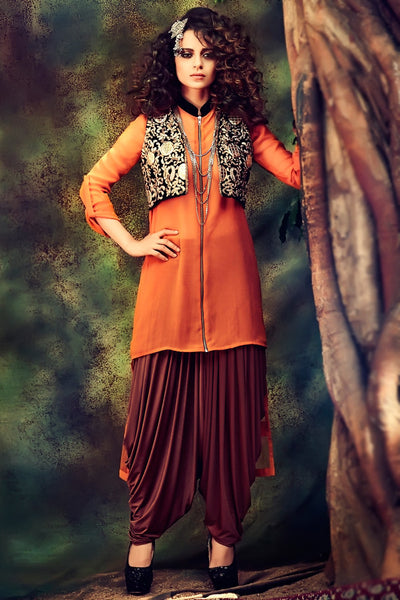 Buy Orange Georgette Party Wear Patiala Suit With jacket Online at indi.fashion