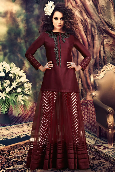 Buy Maroon Georgette Party Wear Anarkali Suit Online at indi.fashion