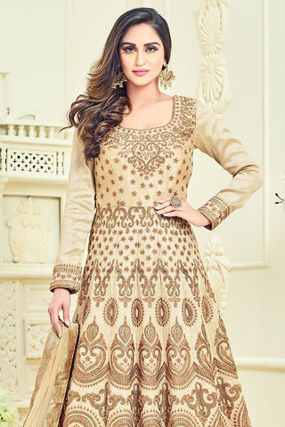 Indi Fashion Cream and Gold Bangalori Silk Party Wear Anarkali Suit