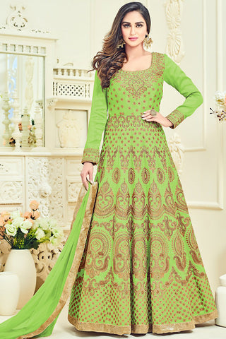 Indi Fashion Parrot Green and Gold Bangalori Silk Party Wear Anarkali Suit