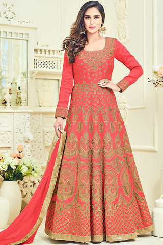 Indi Fashion Red and Gold Bangalori Silk Party Wear Anarkali Suit
