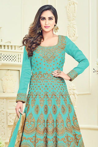 Indi Fashion Blue and Gold Bangalori Silk Party Wear Anarkali Suit