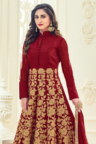 Indi Fashion Maroon and Gold Silk Party Wear Anarkali Suit