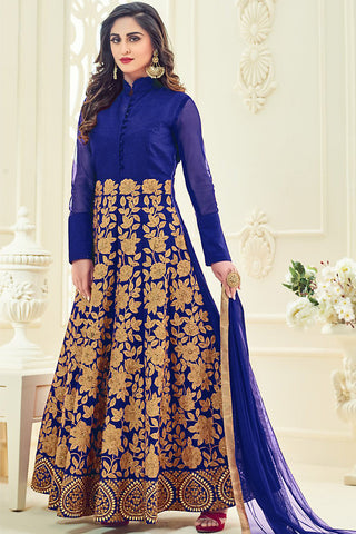 Indi Fashion Navy Blue and Gold Silk Party Wear Anarkali Suit