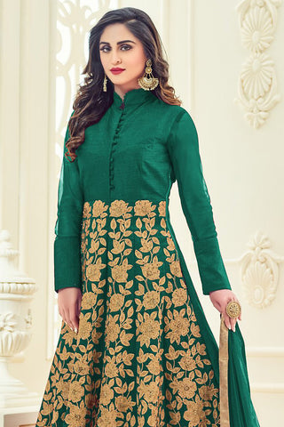 Indi Fashion Green and Gold Silk Party Wear Anarkali Suit