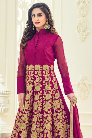 Indi Fashion Magenta and Gold Silk Party Wear Anarkali Suit