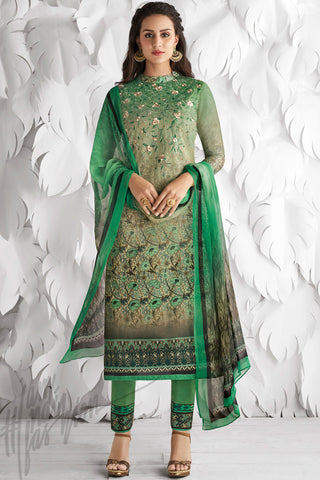 Indi Fashion Green Cotton Satin Embroidered Daily Wear Straight Suit
