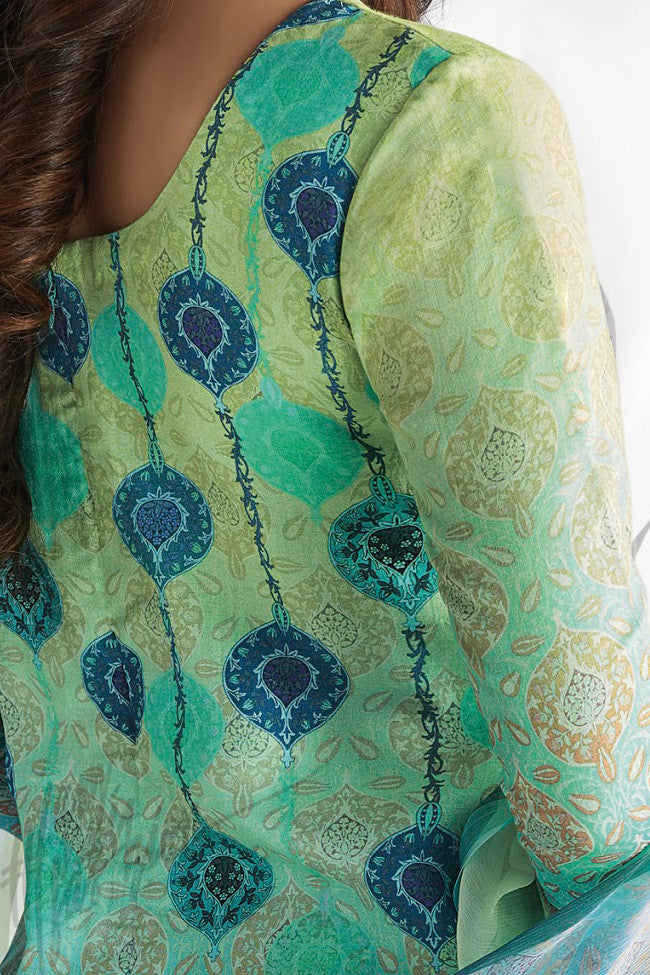 Indi Fashion Blue and Green Shaded Cotton Satin Embroidered Daily Wear Straight Suit