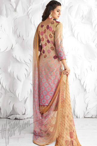 Buy Cream and Pink Shaded Cotton Satin Embroidered Daily Wear Straight Suit Online at indi.fashion