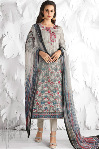 Indi Fashion Light Gray Cotton Satin Embroidered Daily Wear Straight Suit