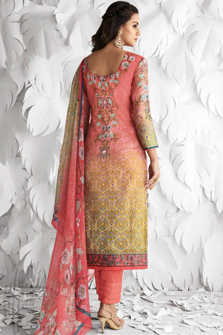 Indi Fashion Pink and Green Shaded Satin Embroidered Daily Wear Straight Suit