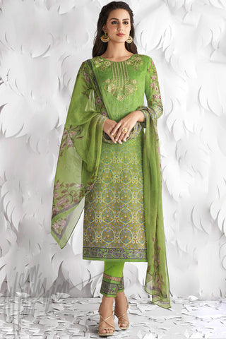 Indi Fashion Green Shaded Cotton Satin Embroidered Daily Wear Straight Suit