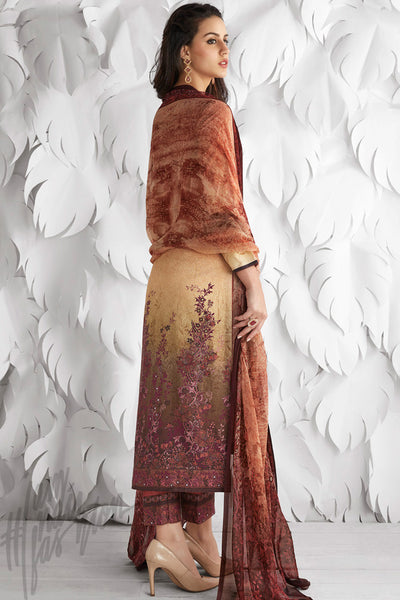 Buy Brown and Cream Shaded Cotton Satin Embroidered Daily Wear Straight Suit Online at indi.fashion