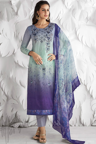 Indi Fashion Light Blue and Purple Shaded Cotton Satin Embroidered Daily Wear Straight Suit