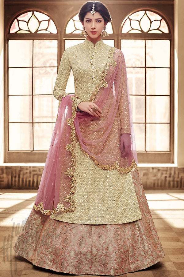 Indi Fashion Pastel Yellow and Peach Silk Long Jacket Style Wedding Suit