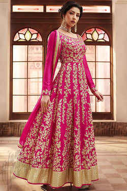 Indi Fashion Bright Pink and Beige Silk Floor Length Party Wear Suit