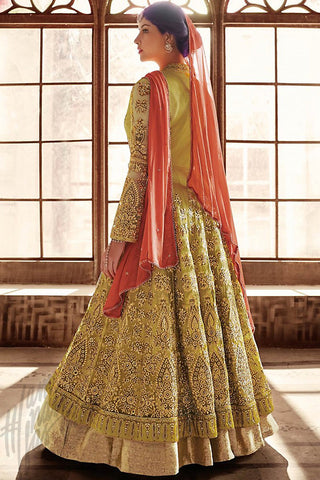Indi Fashion Mustard Peach and Beige Silk Wedding Suit