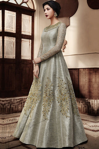 Indi Fashion Silver Gray Jut Silk Floor Length Wedding Suit