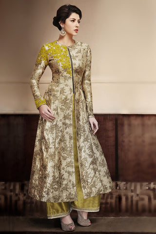 Indi Fashion Beige and Olive Green Silk Wedding Suit