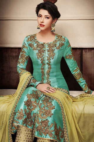 Indi Fashion Turquoise Blue and Light Yellow Banarasi Silk Wedding Suit