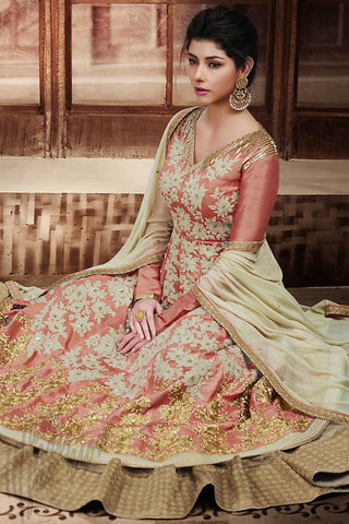 Indi Fashion Peach and Beige Banarasi Silk Floor Length Wedding Suit
