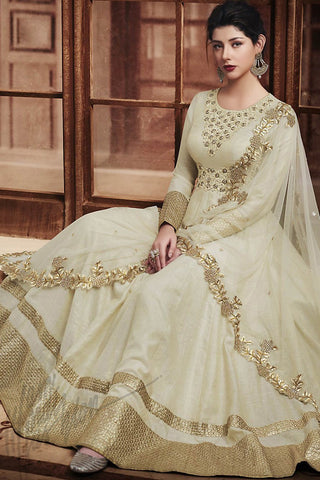 Indi Fashion Off White and Beige Silk Floor Length Wedding Suit