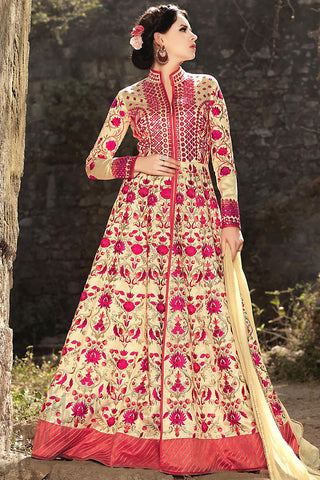Indi Fashion Cream and Red Silk Party Wear Anarkali Suit