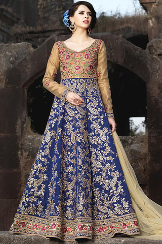 Indi Fashion Beige and Blue Silk Party Wear Anarkali Suit